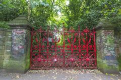 Strawberry fields in liverpool. Strawberry fields gates and entrance. A beatles song dedicated to this area in liverpool Royalty Free Stock Image