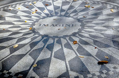 Strawberry Fields. New York, NY, USA OCTOBER 28:Strawberry Fields is a 2.5 acre area of Central Park that pays tribute to the late Beatle, John Lennon on october royalty free stock photography