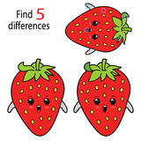 Strawberry find 5 differences. Illustration of kids puzzle educational game Find 5 differences for preschool children Stock Photography