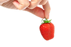 Strawberry in the fingers. Isolated on a white background Royalty Free Stock Image