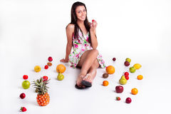 Strawberry first. Royalty Free Stock Images