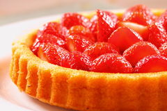 Strawberry flan A. Photograph of a strawberry flan before the jelly has been put on Stock Photo