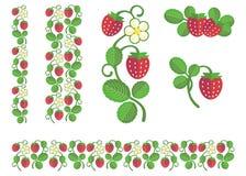 Strawberry flat colors set Royalty Free Stock Photo