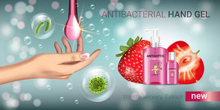 Strawberry flavor Antibacterial hand gel ads. Vector Illustration with antiseptic hand gel in bottles and strawberry elements. Horizontal banner Royalty Free Stock Image