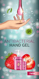 Strawberry flavor Antibacterial hand gel ads. Vector Illustration with antiseptic hand gel in bottles and strawberry elements. Vertical banner Stock Photos