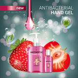 Strawberry flavor Antibacterial hand gel ads. Vector Illustration with antiseptic hand gel in bottles and strawberry elements. Poster Stock Image