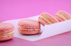 Strawberry flavor macaroons. Royalty Free Stock Photos