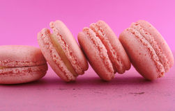 Strawberry flavor macaroons. Stock Image