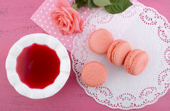 Strawberry flavor macaroons Stock Photography