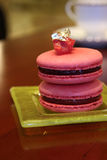Strawberry flavored macaron Royalty Free Stock Photography