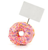 Strawberry flavoured donut with price tag Royalty Free Stock Photo
