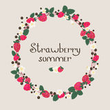 Strawberry floral frame/wreath Royalty Free Stock Photo