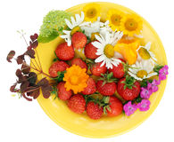 Strawberry and flowers mix royalty free stock photos
