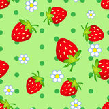 Strawberry flowers. Seamless pattern with strawberry and flowers Stock Images