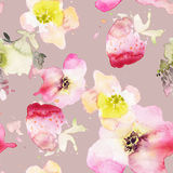 Strawberry flowers seamless pattern watercolor. Abstract graphic Stock Photo