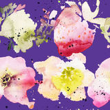 Strawberry flowers seamless pattern watercolor. Abstract graphic Royalty Free Stock Image