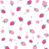 Strawberry and flowers vector background Stock Image