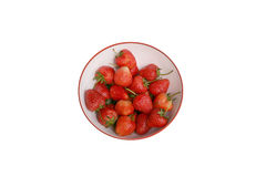 Strawberry ,focus on group of strawberries in white bowl Royalty Free Stock Photos
