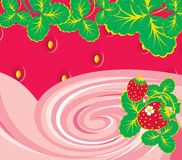 Strawberry and foliage. For illustration the ingredient of food Royalty Free Stock Images