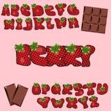Strawberry font. Berry cartoon lettering alphabet. Fruits ABC vector illustration