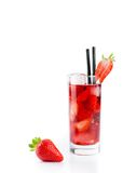 Strawberry in font of cocktail with ice isolated with strawberry on top Royalty Free Stock Image