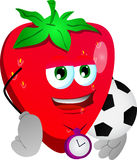 Strawberry with football or soccer ball Royalty Free Stock Photography