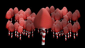 Strawberry forest edges. This is strawberries, which strung on sticks lollipops. They look like toadstools. They are like the edge of the forest Royalty Free Stock Photography