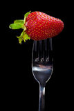 Strawberry on the fork. Royalty Free Stock Image