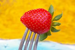 Strawberry on fork Royalty Free Stock Images