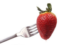 Strawberry on a fork Royalty Free Stock Photography