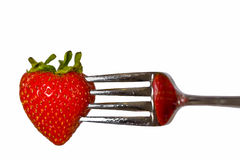 Strawberry fork Royalty Free Stock Images