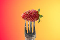 Strawberry on fork Stock Image