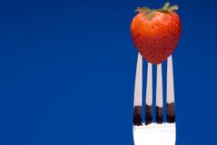 Strawberry on Fork - blue background. A fresh red strawberry on a fork against a graphic blue background royalty free stock photo