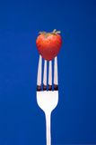 Strawberry on Fork - blue background. A fresh red strawberry on a fork against a graphic blue background stock photos