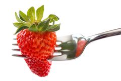 Strawberry in fork Royalty Free Stock Photography