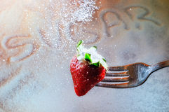 Strawberry on a fork punctured and sugar. Strawberry on a fork punctured falling sugar with sugar background stock photo