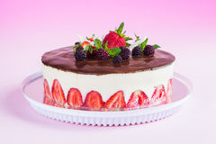 Strawberry fraisier cake on pink gradient background Stock Image