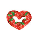 Strawberry frame heart shape isolated on white Royalty Free Stock Photography