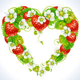 Strawberry frame in the shape of heart. Vector strawberry frame in the shape of heart Stock Photography