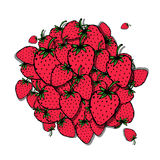 Strawberry frame, sketch for your design Stock Photo