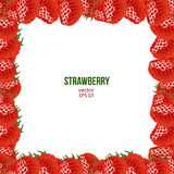 Strawberry frame, vector illustration Royalty Free Stock Photos