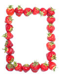 Strawberry frame. Frame with a strawberry on a white background Royalty Free Stock Photography
