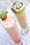 Strawberry frappe - Matcha green tea Stock Photo
