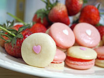 Strawberry french macarons with heart Stock Photography