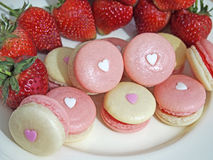 Strawberry french macarons with heart Royalty Free Stock Images
