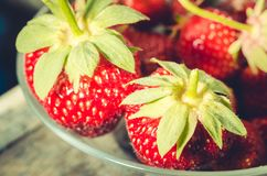 Strawberry. Fresh berries of strawberry, close up/Selective focus. Strawberry in to glass bowl royalty free stock photos