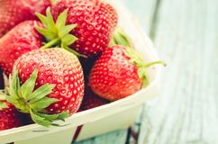 Strawberry. fresh berries of strawberry/Top view. Strawberry in small basket, copy space royalty free stock images