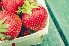 Strawberry. fresh berries of strawberry/fresh berries of strawberry on wooden background closeup. Top view stock photo