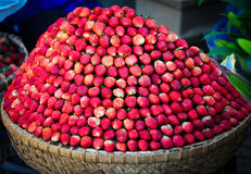 Strawberry fresh fruits at the market in Dalat, Vietnam Royalty Free Stock Image