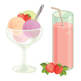 Strawberry fresh and ice cream. Vector illustration of strawberry cocktail  on white background. Ripe strawberry and strawberry slices. Ball of ice cream with Stock Image